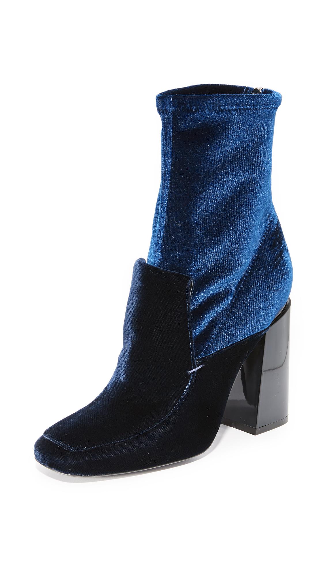 Sigerson Morrison Joanna II Velvet Booties - Blue Notte