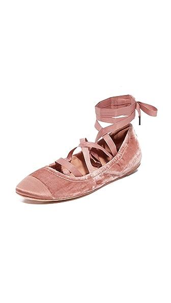 Sigerson Morrison Charlotte II Velvet Ballet Flats - Rosa