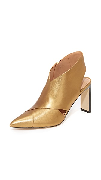 Sigerson Morrison Halima Slingback Booties In Dark Gold