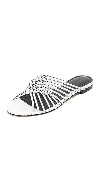 Sigerson Morrison Aggie Woven Slide Sandals - Chic Cream