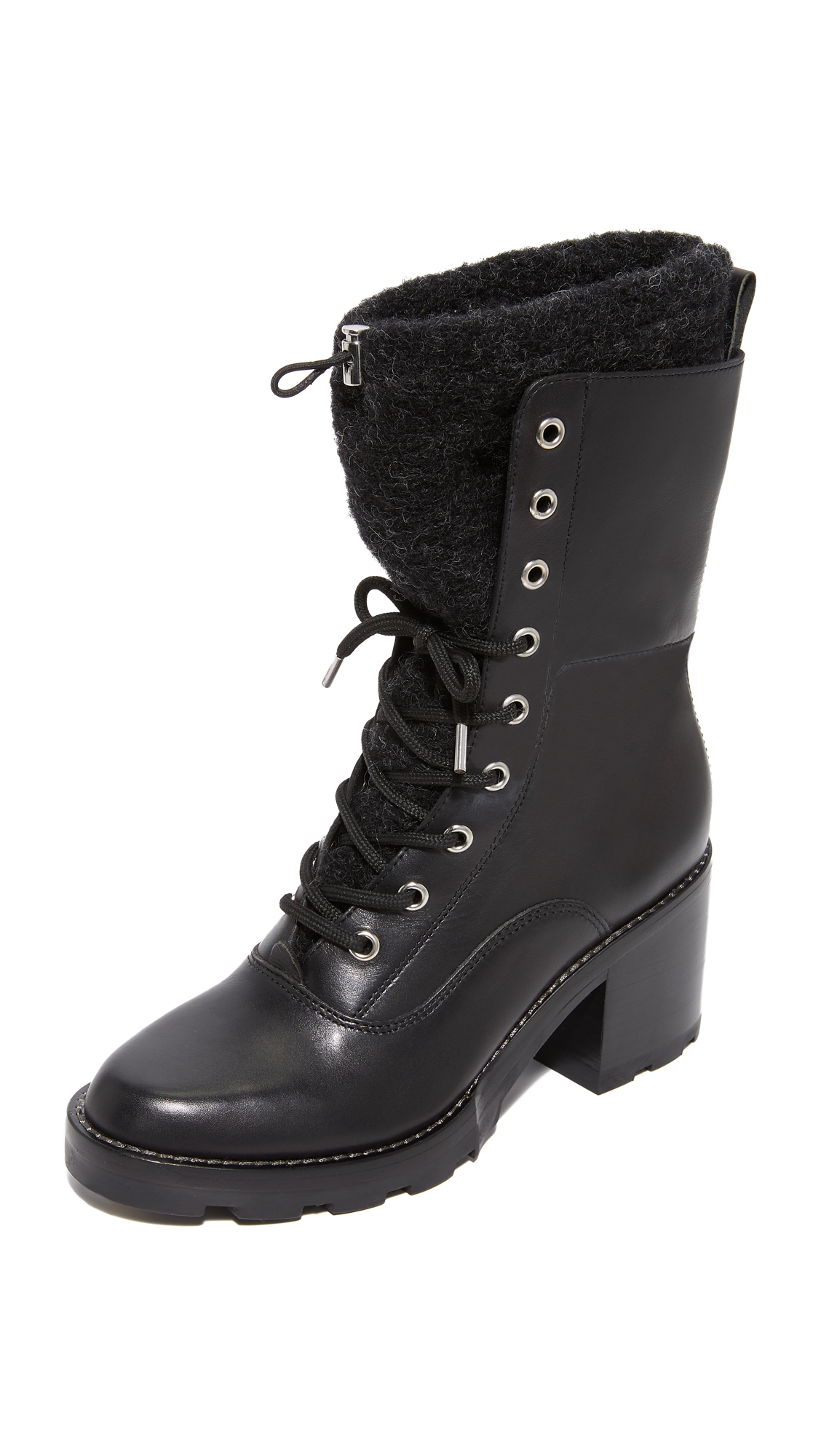 Sigerson Morrison Gladys Lace Up Booties - Black/Grey