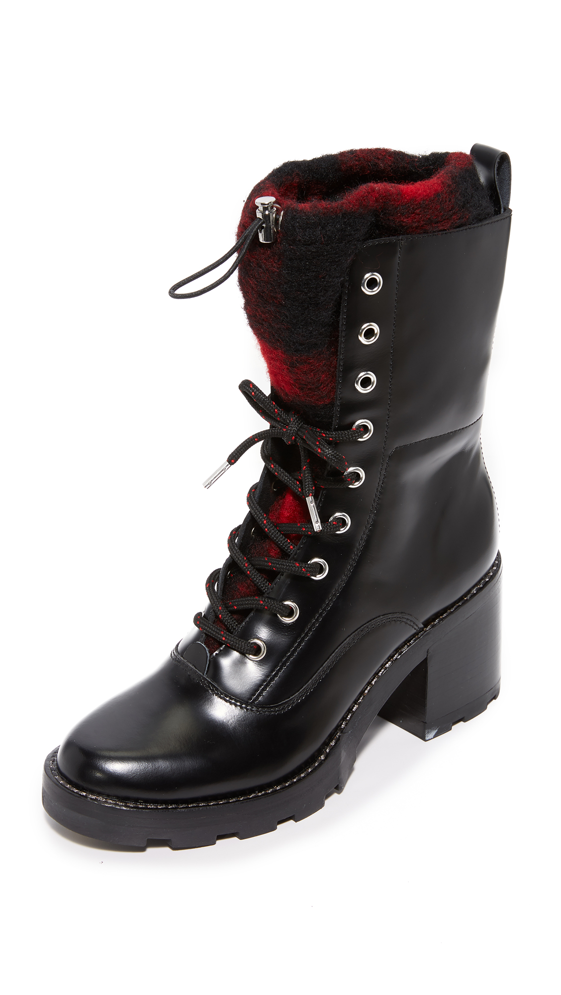 Sigerson Morrison Gladys Lace Up Booties - Black/Red