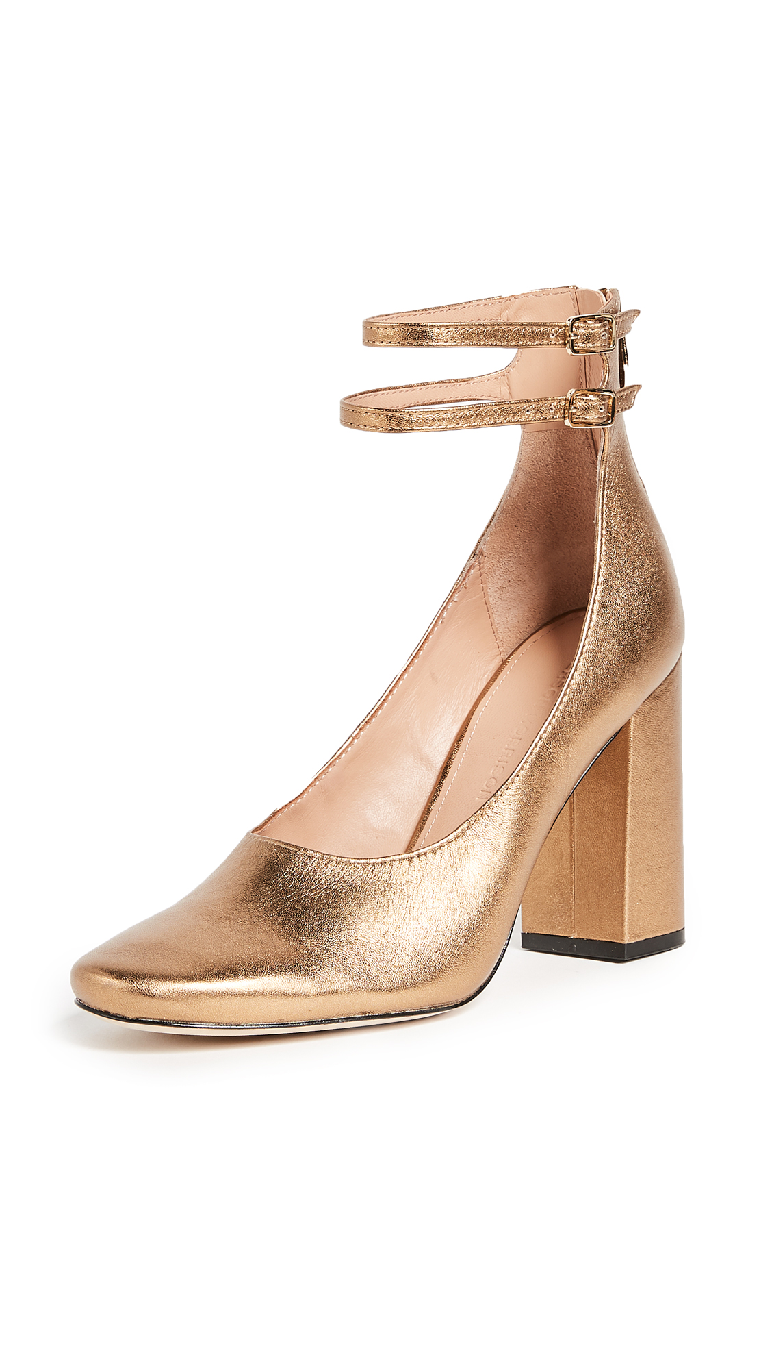 Sigerson Morrison Plum Ankle Strap Pumps - Dark Gold