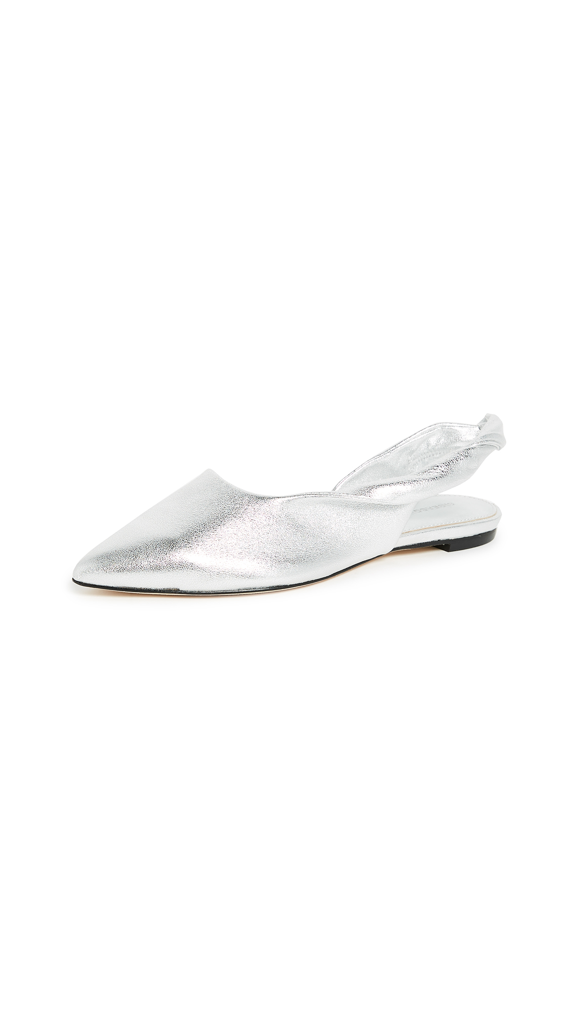Sigerson Morrison Sham Point Toe Slingback Flats In Silver