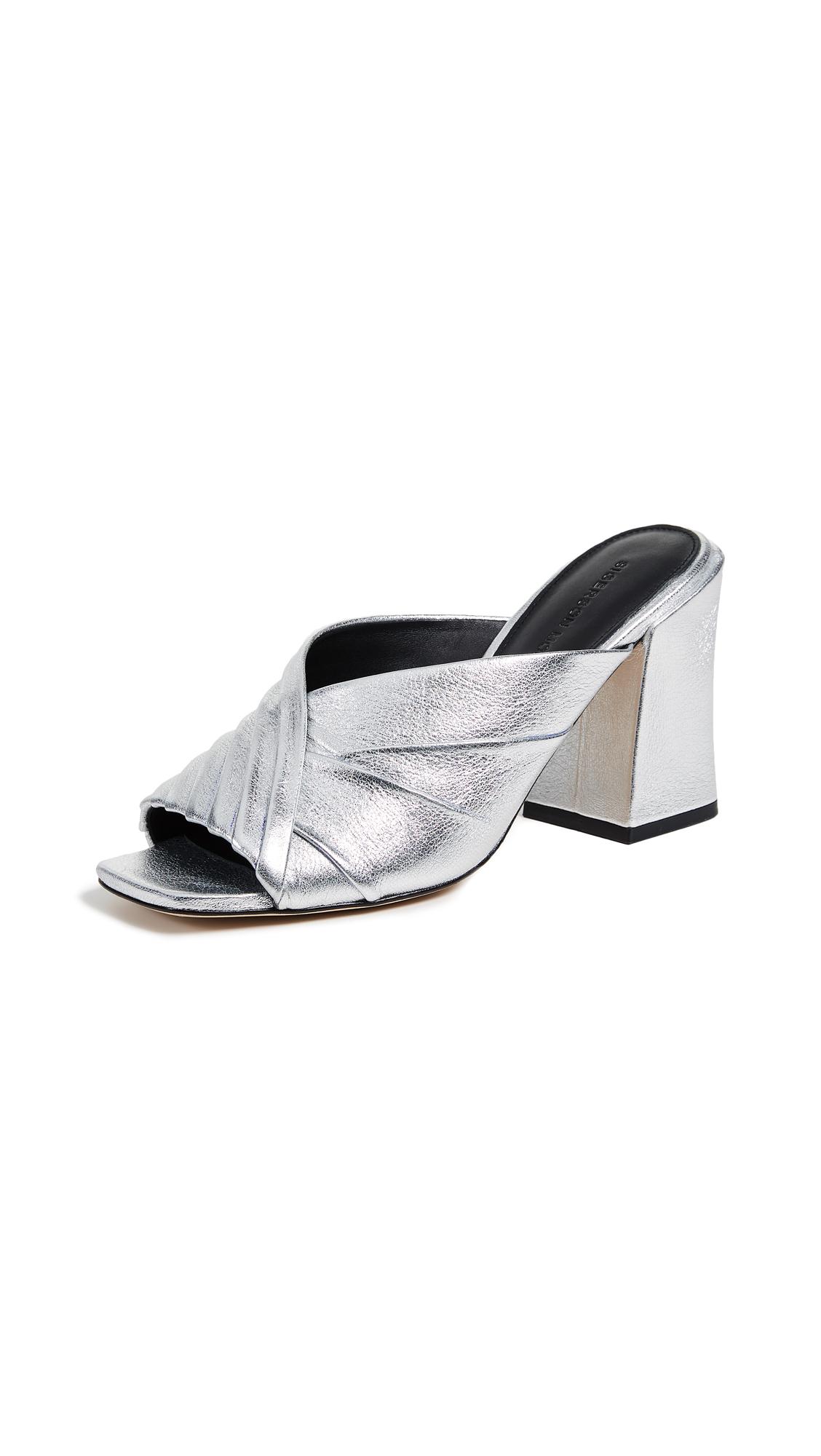 Sigerson Morrison Pramod Block Heel Sandals - Silver