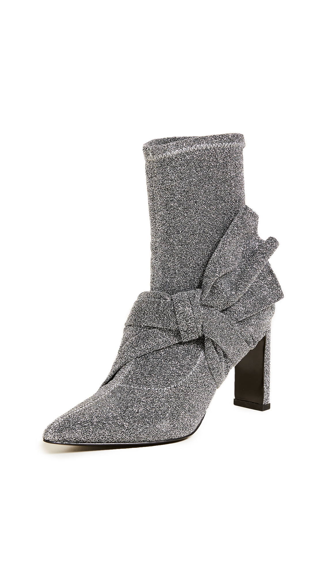Sigerson Morrison Helin Bow Ankle Booties - Silver