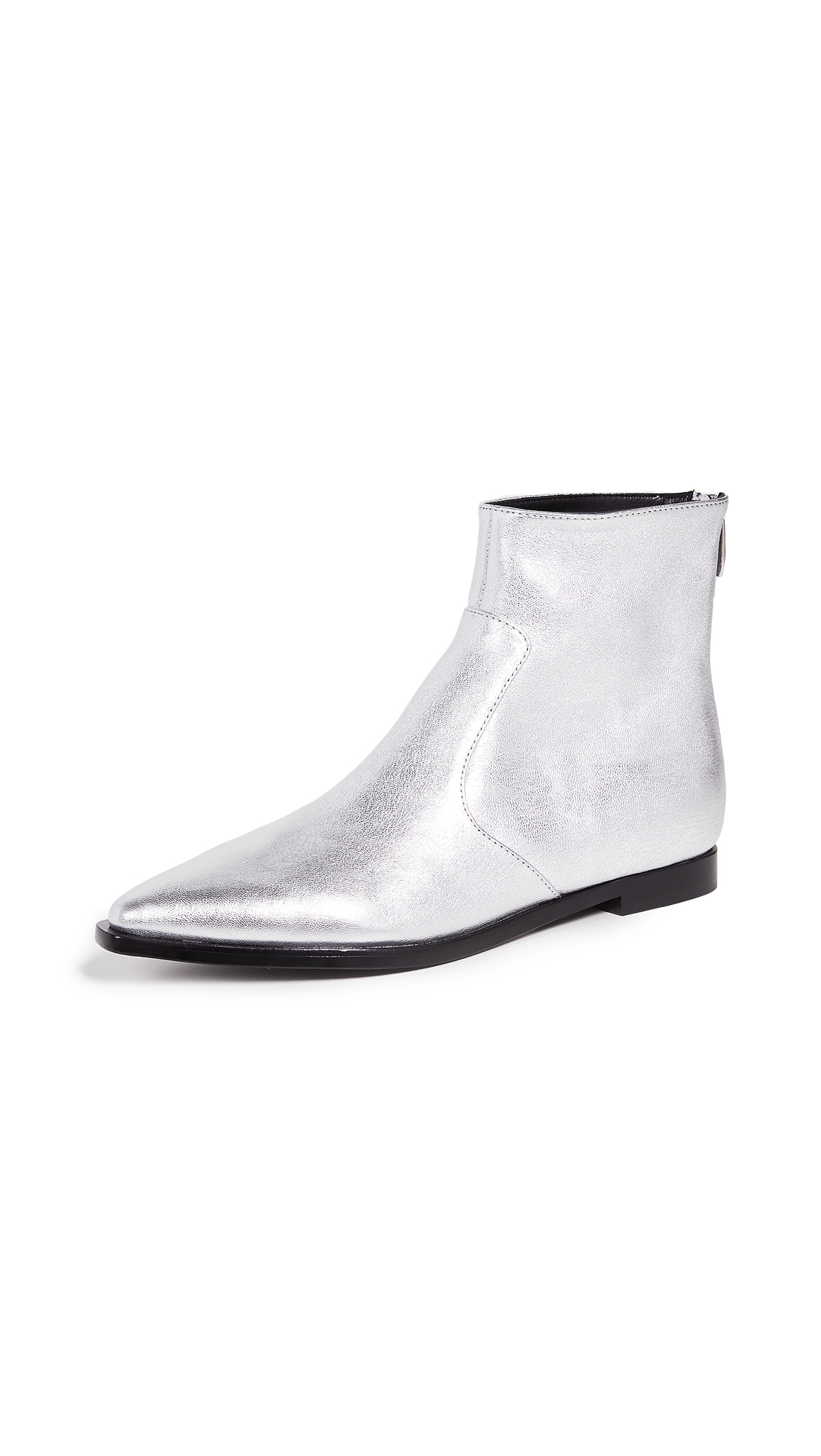 Sigerson Morrison Eranthe Point Toe Booties - Silver