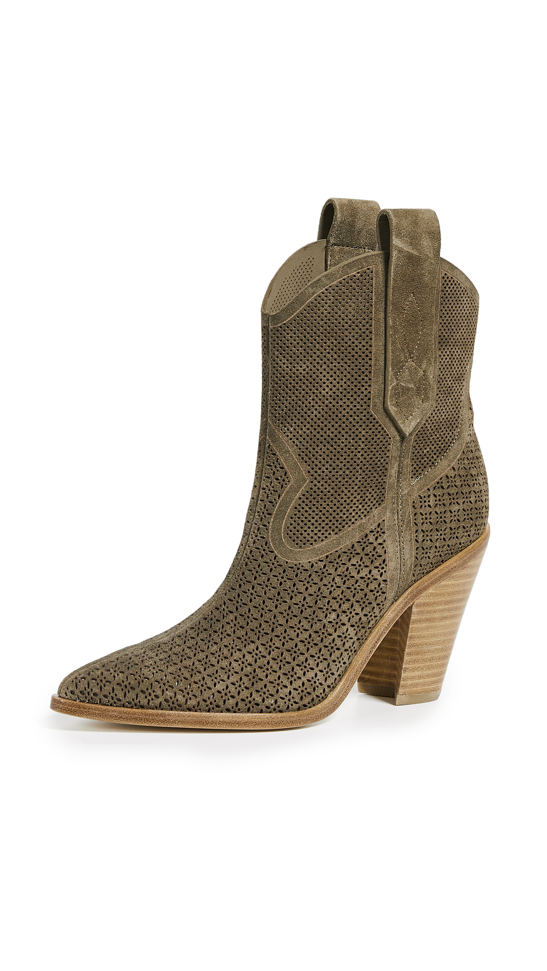 Sigerson Morrison Suede Karka Perforated Booties - Taupe