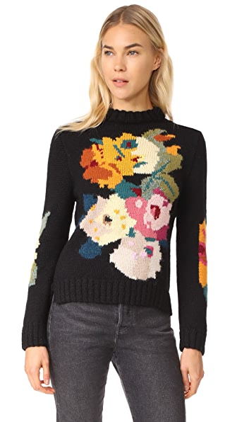 SMYTHE Alpaca Floral Intarsia Sweater In Black Multi