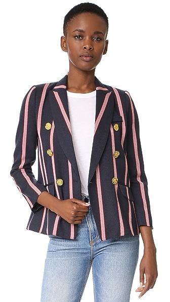SMYTHE Mini Double Breasted Blazer - Navy/Pink Oxford Stripe