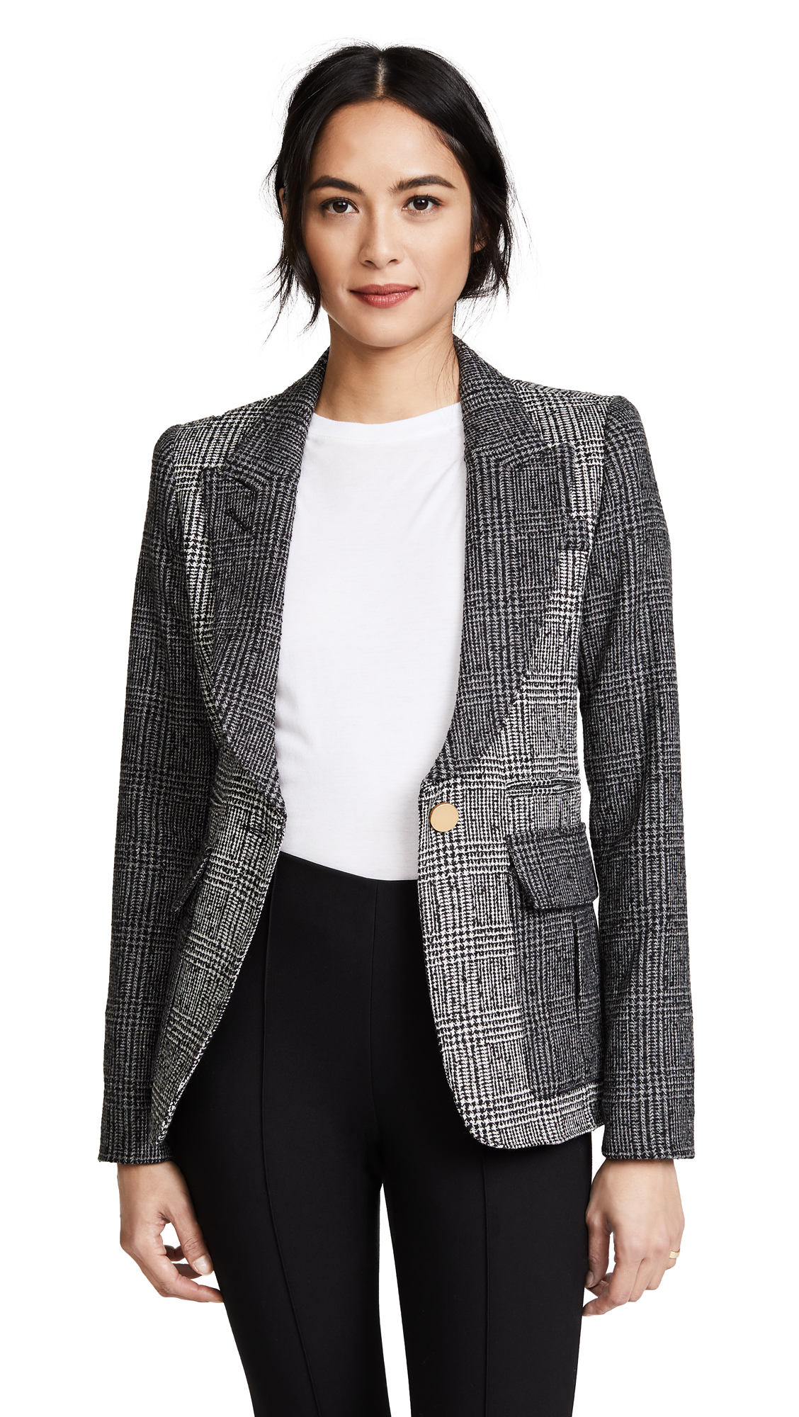 SMYTHE Mixed Plaid Peaked Lapel Blazer - Tonal Grey Glen Check