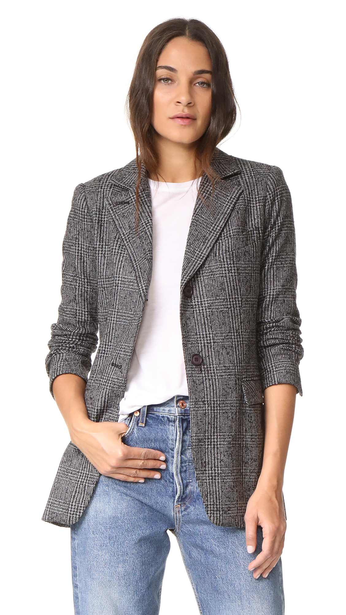 SMYTHE Original Boyfriend Blazer - Dark Glen Check