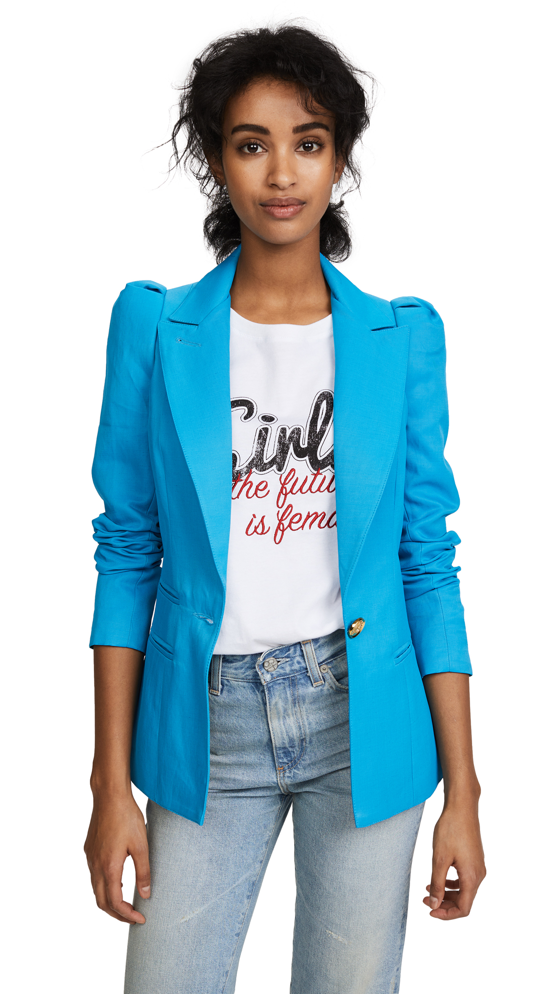 SMYTHE Box Pleat Blazer - Azure