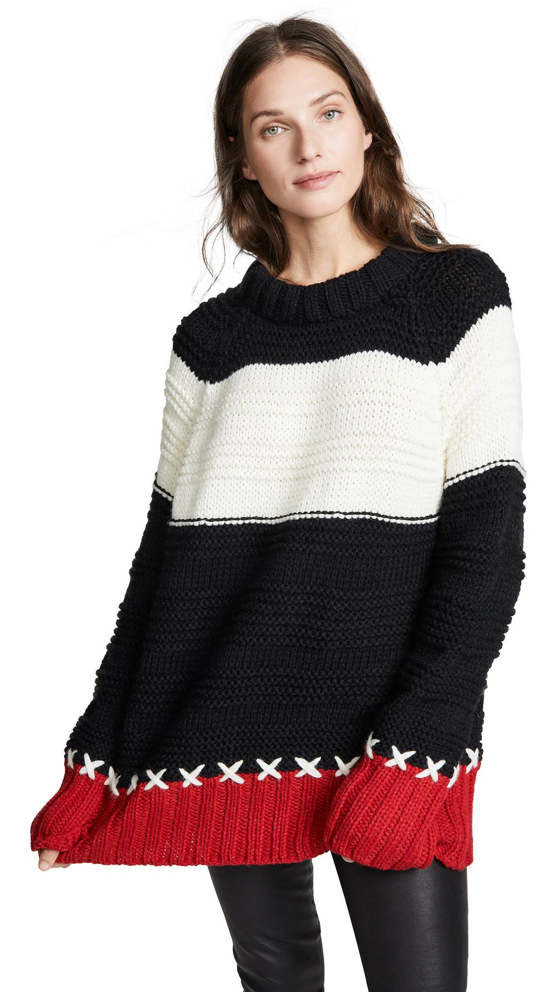 SMYTHE Stripe Cross Stitched Alpaca Blend Sweater in Red/Black/White