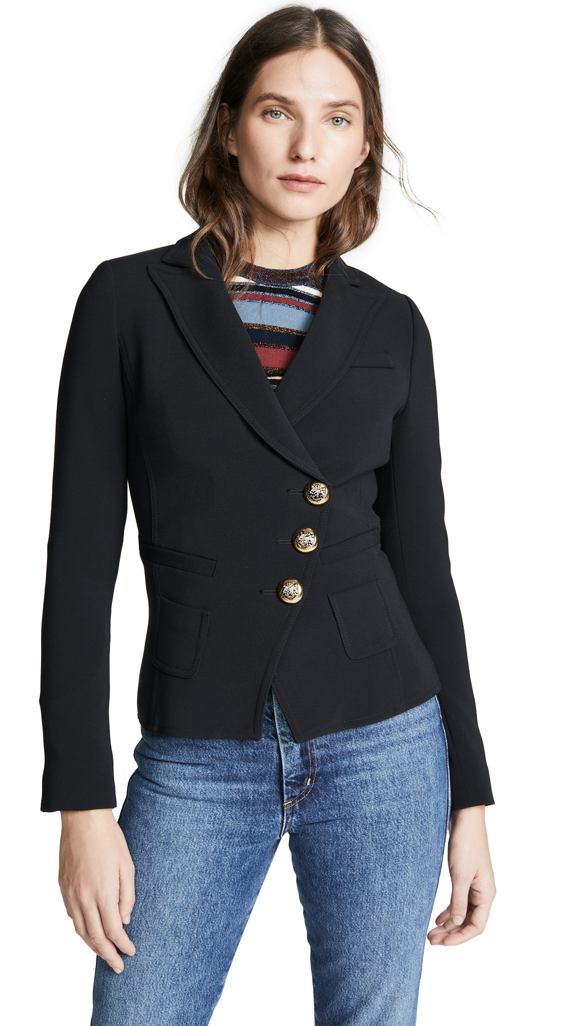 SMYTHE Tailored Double-Breasted Wrap Blazer in Black
