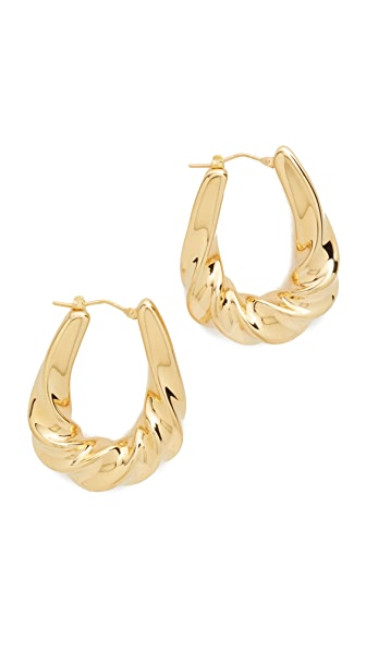 Soave Oro Graduated Twisted Oval Hoop Earrings