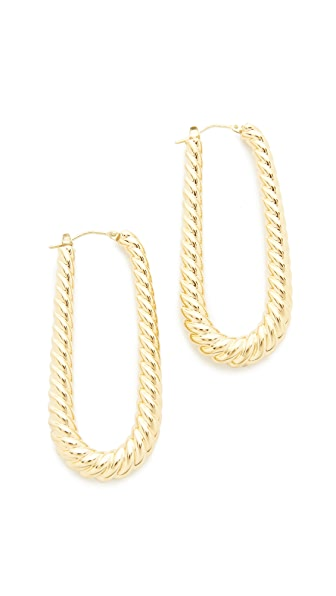 Soave Oro Elongated Ribbed Hoop Earrings - Gold