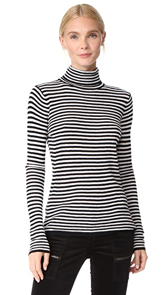 Soft Joie Zelene Turtleneck In Caviar/Porcelain