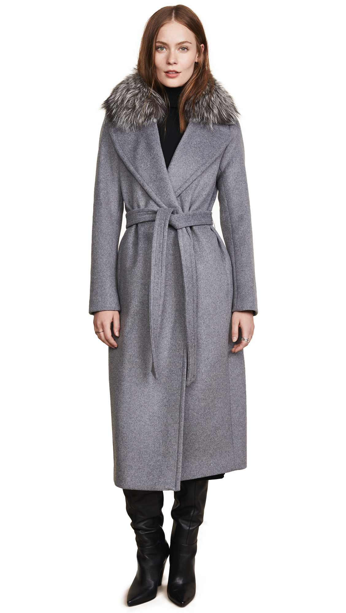 Soia & Kyo Adelaida Wool Coat with Removable Fur Trim In Ash