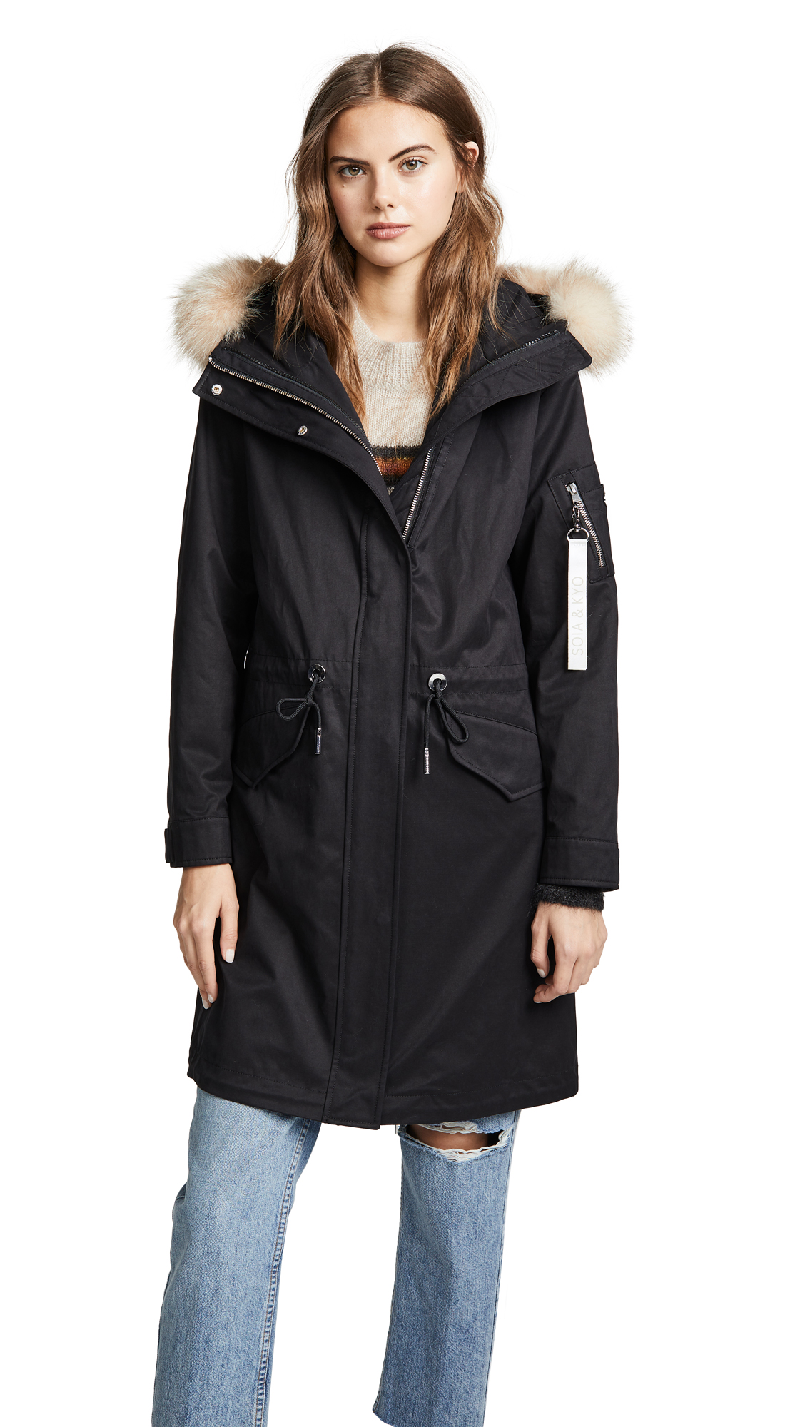 SOIA & KYO Lois Utility Down Coat With Fur Trim in Black
