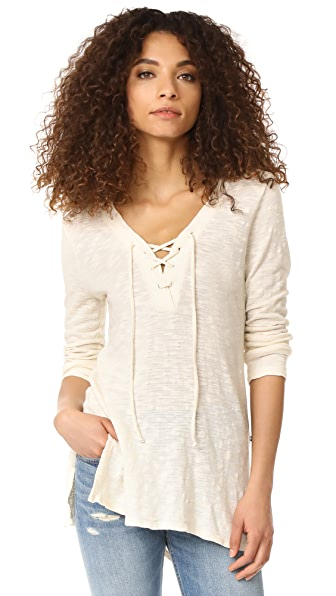 Sol Angeles Tie Neck Deep V Tunic