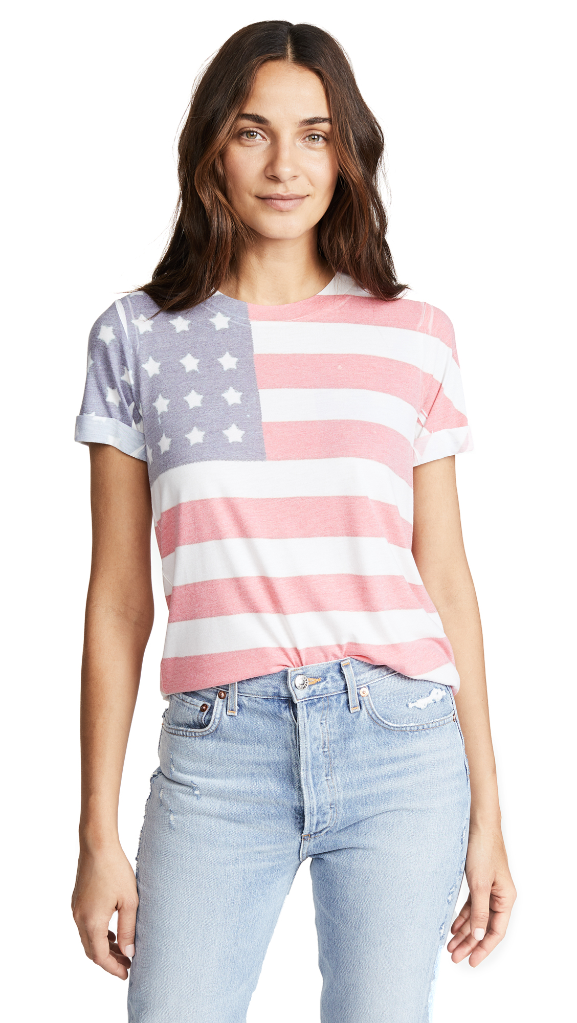 Sol Angeles Freedom Rolled Tee In Freedom