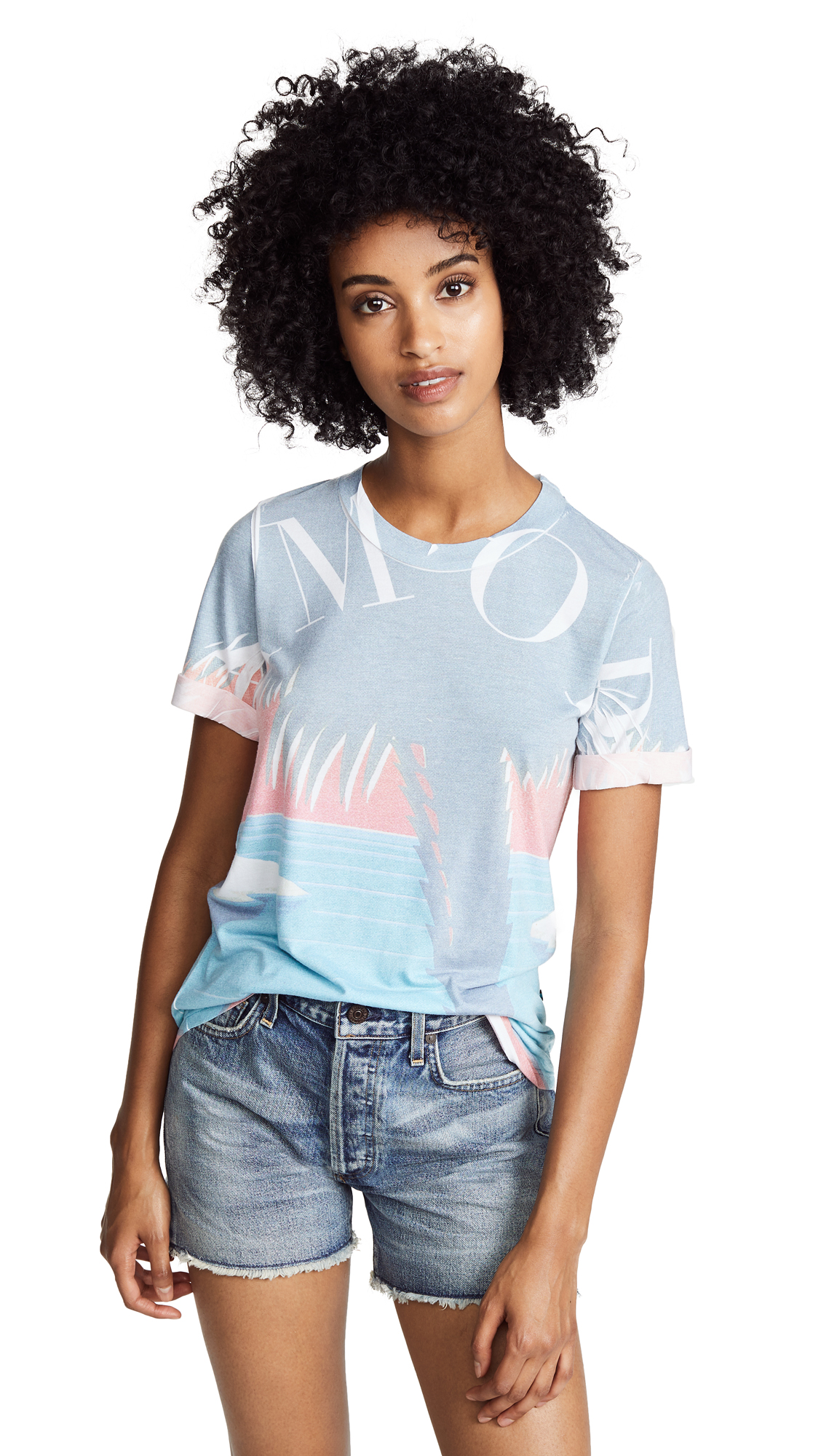 Sol Angeles Amore Palm Rolled Tee In Amore Palm