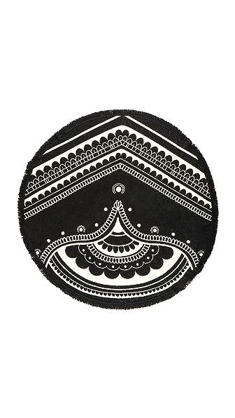 Soleil Venice Beach Woven Round Towel - Black/Cream