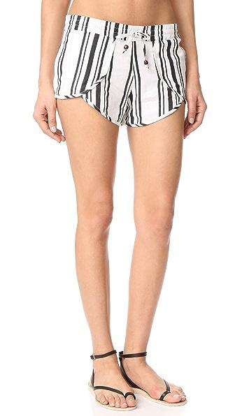 Soleil Striped Linen Tulip Shorts