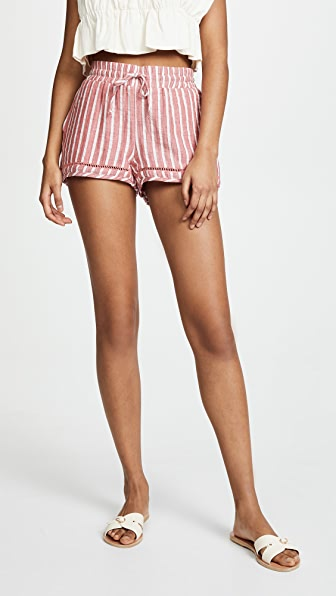 SOLEIL Striped Shorts in Burnt Red