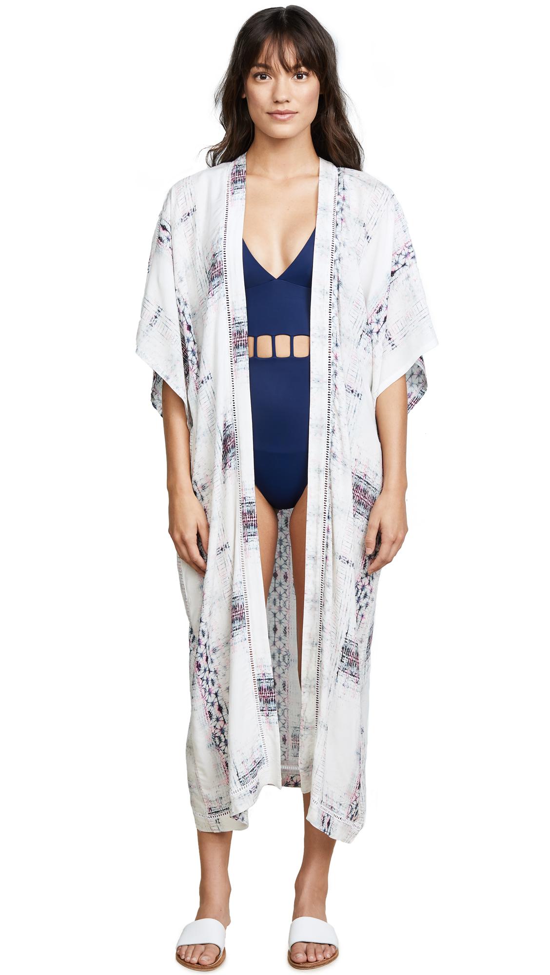 Soleil Karolina Long Kimono In Blue/Pink
