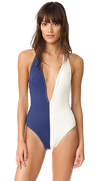 Solid & Striped The Willow Plunge Neck One Piece