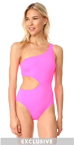 The Claudia One Piece Swimsuit Solid  Striped