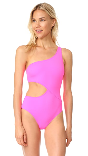 Solid & Striped The Claudia One Piece Swimsuit In Hot Pink