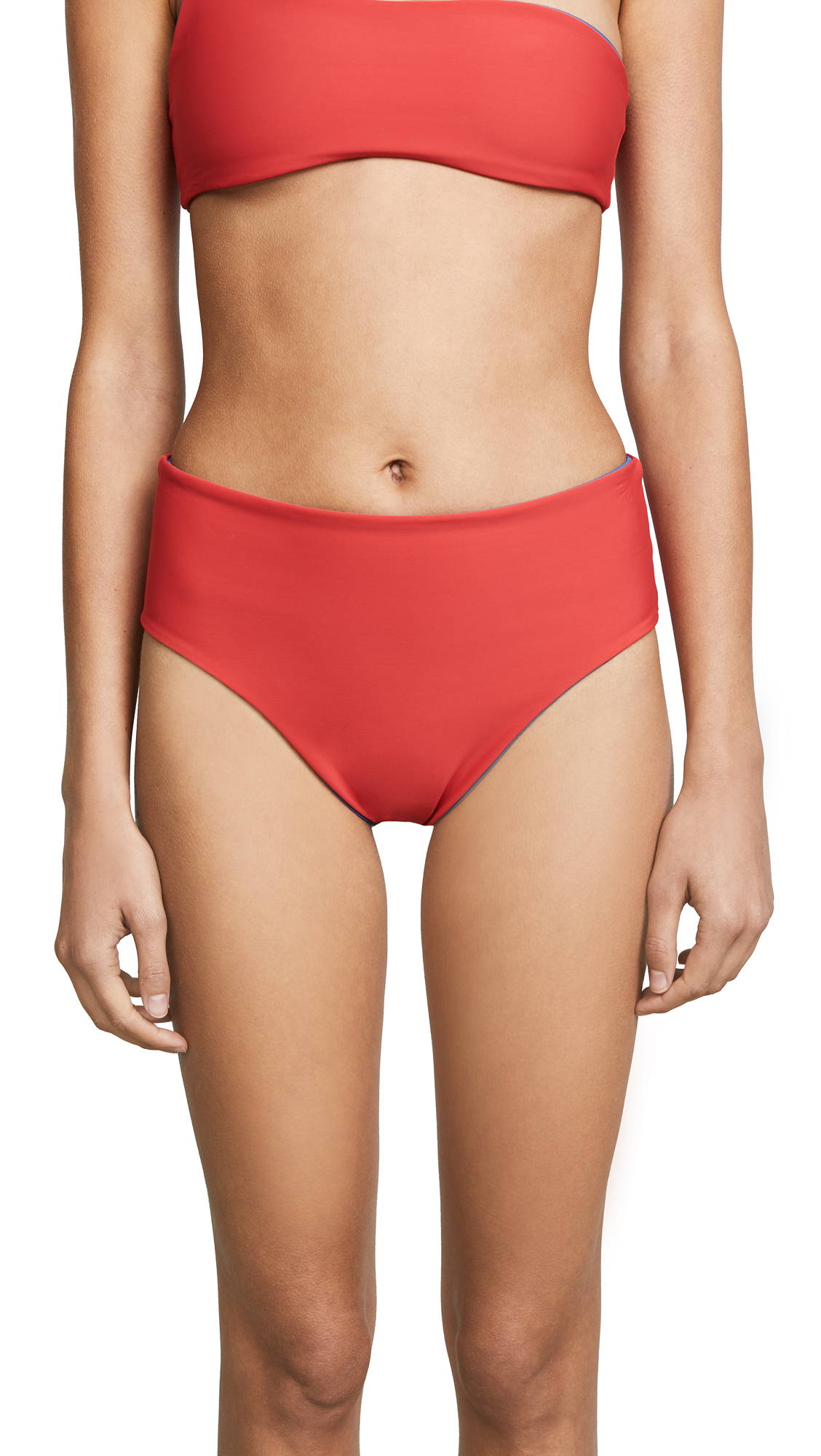 Solid & Striped Reversible Swim Team Isabeli Bikini Bottoms In Red Slate