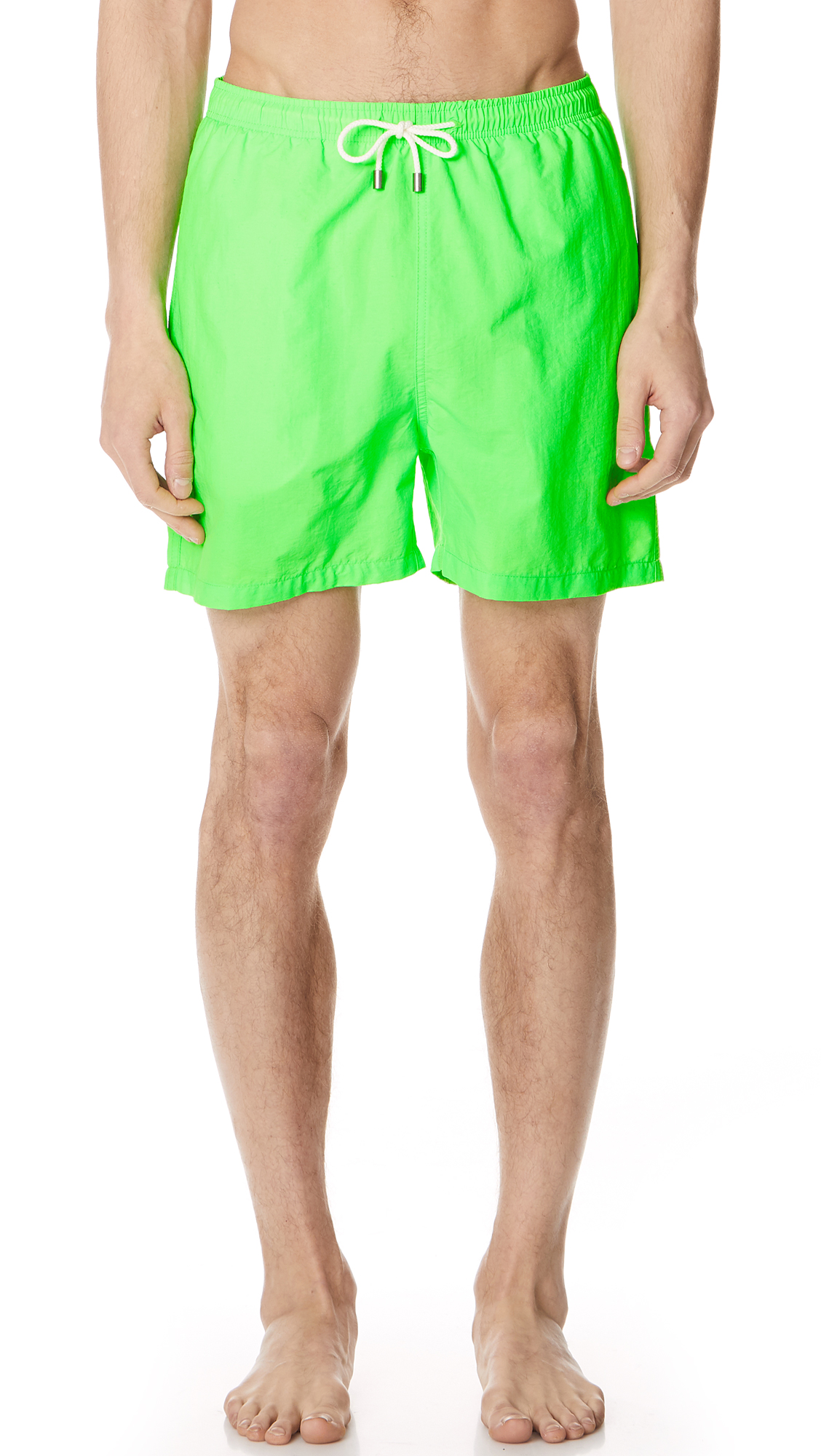 SOLID & STRIPED Solid And Striped Green Classic Swim Shorts in Neon Green