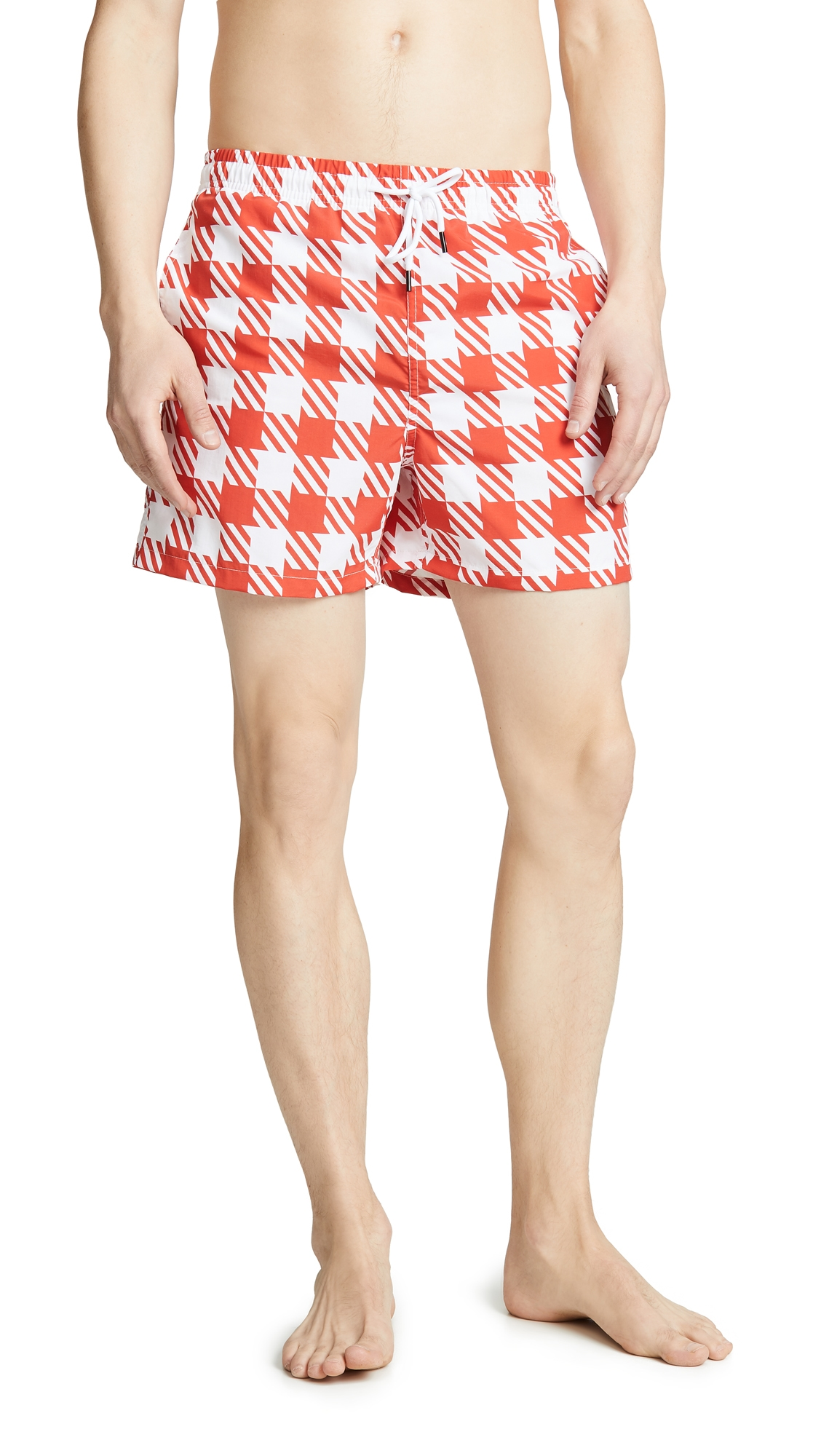 SOLID & STRIPED   Solid & Striped The Classic Red Gingham Trunks   Goxip
