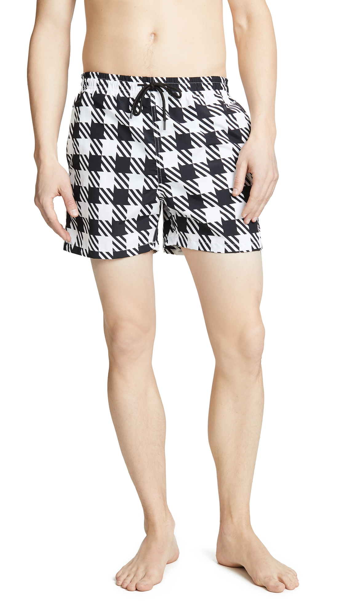 SOLID & STRIPED   Solid & Striped The Classic Gingham Swim Trunks   Goxip