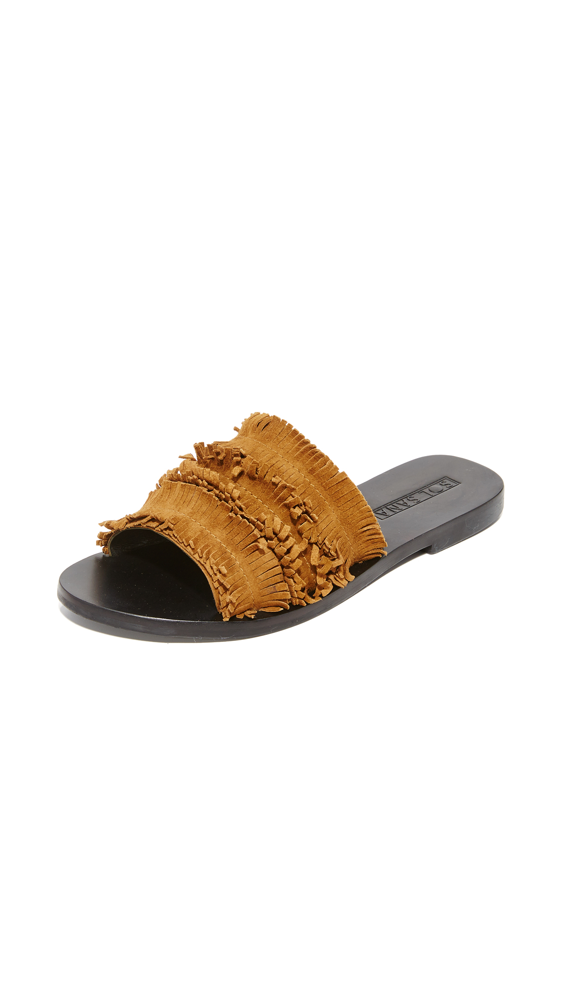 Layers of fringe cover the vamp on these suede Sol Sana sandals. Low heel and rubber sole. Leather: Goatskin. Imported, Indonesia. This item cannot be gift boxed. Available sizes: 35,36,37,38,39,40,41