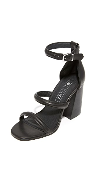 Sol Sana Aubrey Heel Sandals In Black/Black