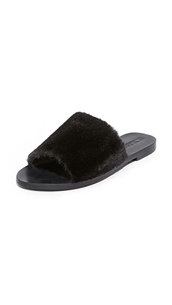Sol Sana Teresa Faux Fur Slides - Black