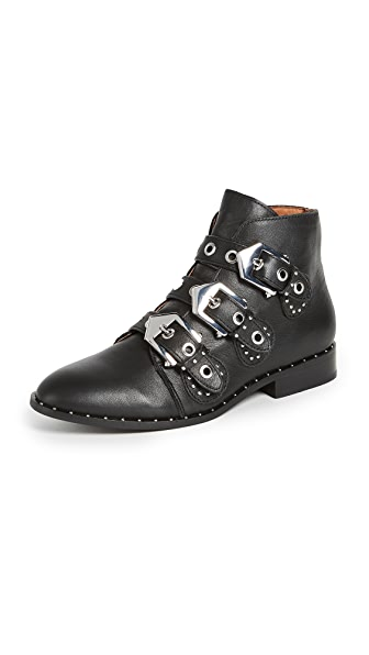 MAXWELL BLACK STUDDED FLAT ANKLE BOOTS - BLACK