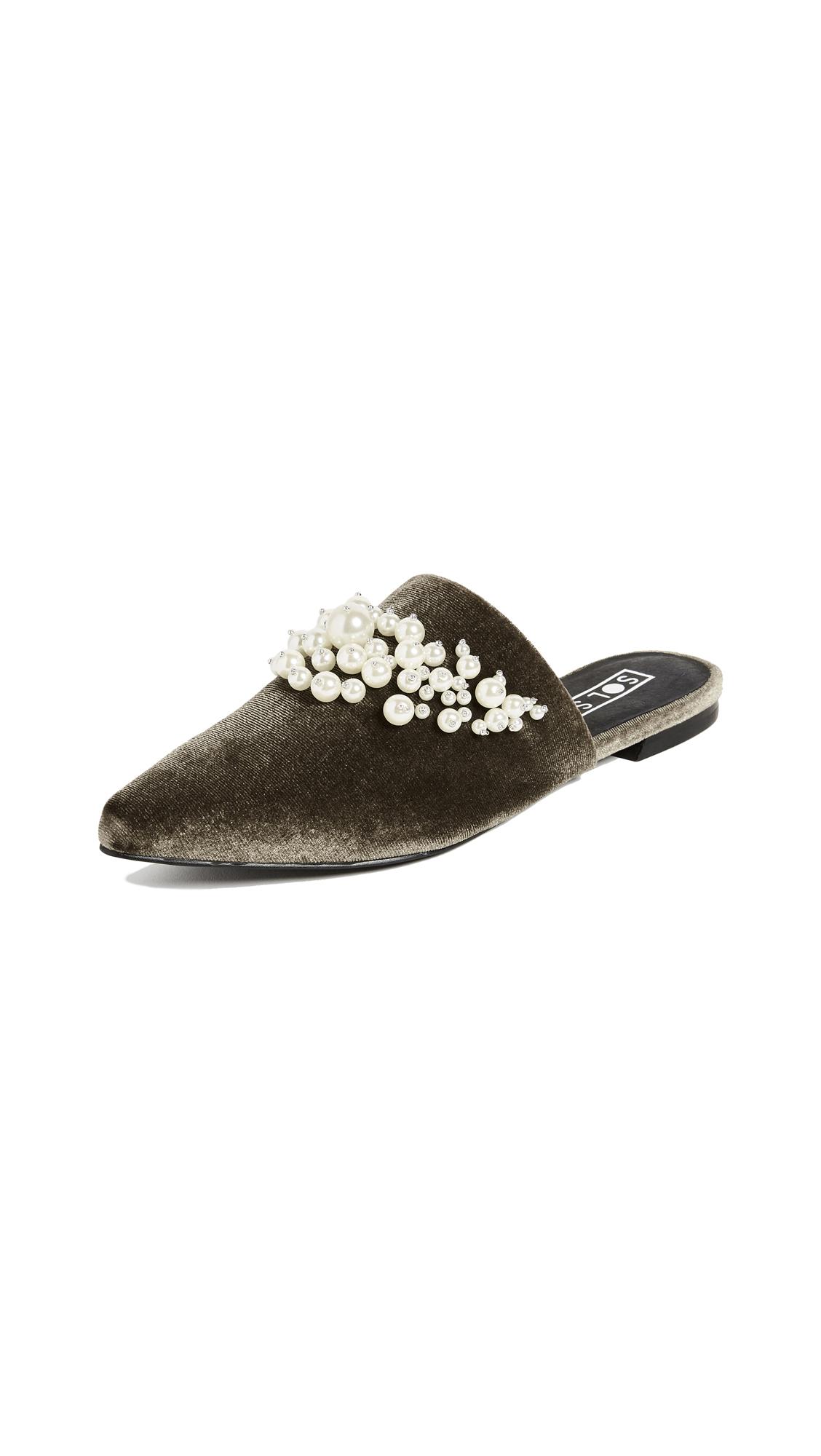 Sol Sana Grace Imitation Pearl Slides - Moss
