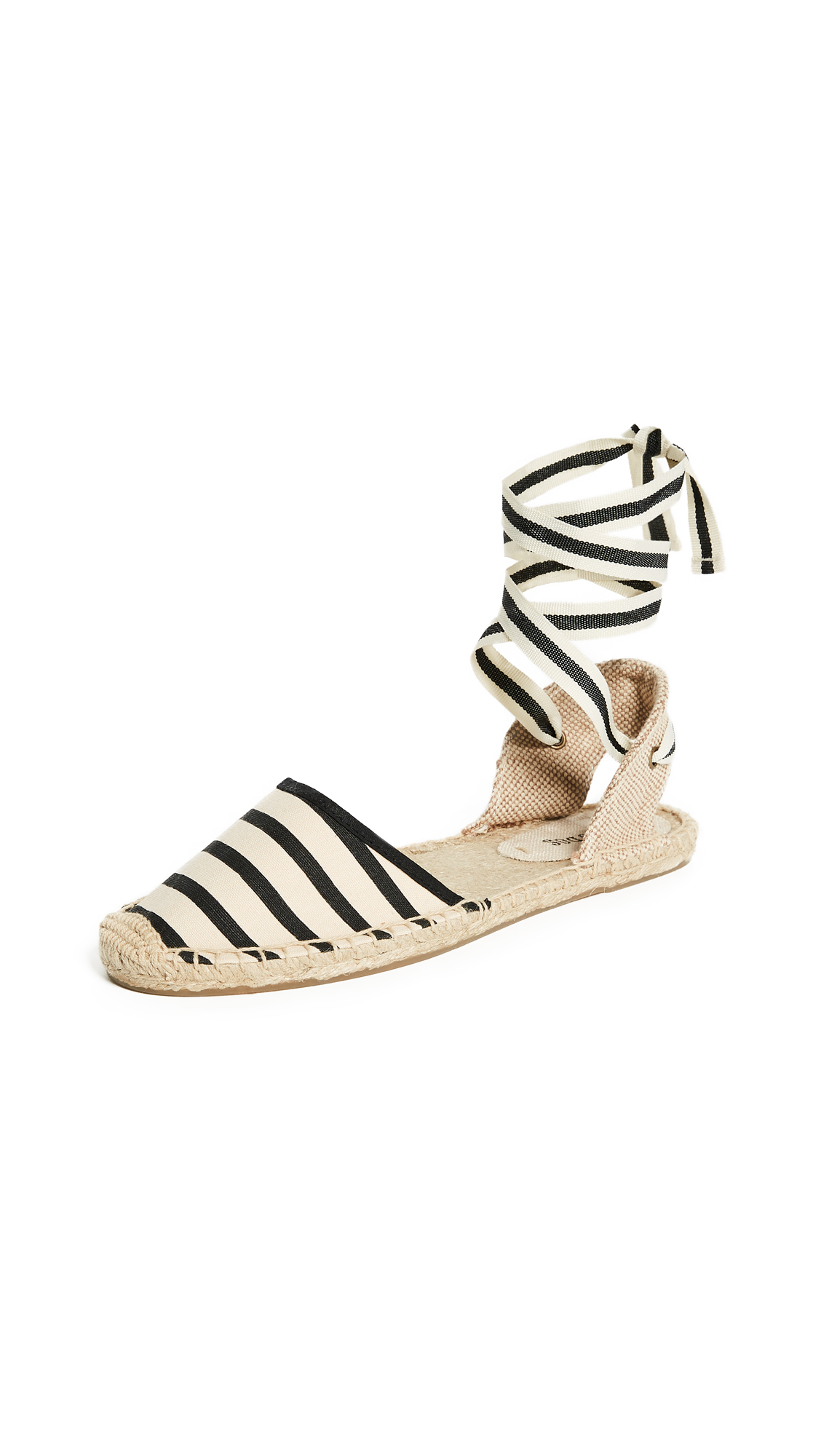 Soludos Striped Espadrille Sandals - Natural/Black