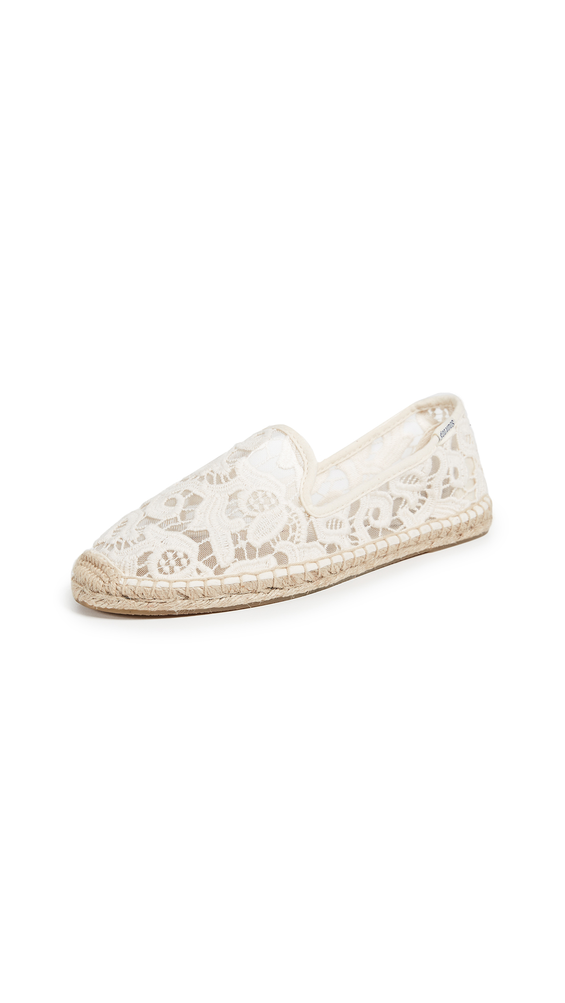 Soludos Tulip Lace Smoking Slipper Espadrilles - Ivory