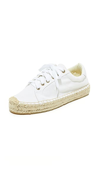 Soludos Platform Tennis Sneakers In Bright White