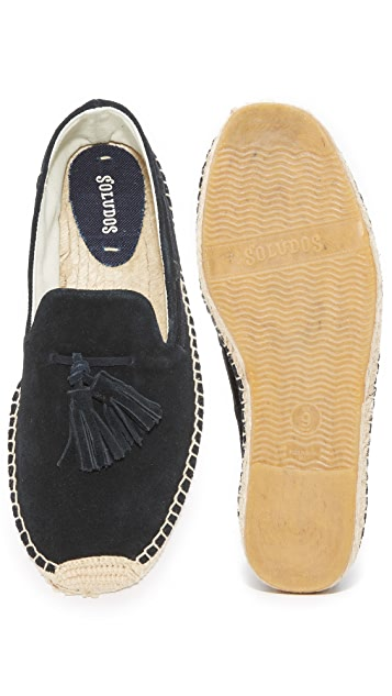 Soludos Suede Tasseled Smoking Slippers