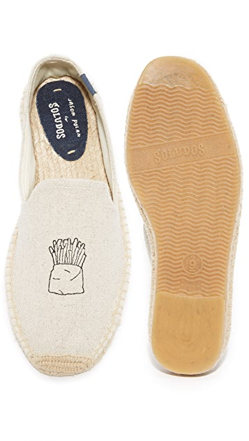 Soludos Hamburger & Fries Embroidered Smoking Slipper Espadrilles