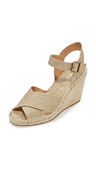 Soludos Crisscross Wedge Espadrilles - Gold