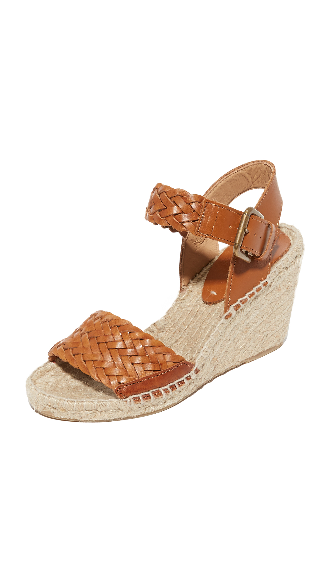 soludos female soludos woven leather wedge espadrilles camel